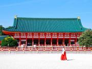 A shrine maiden in front of Heian Jingu Shrine