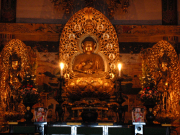 Golden Buddha statues in the prayer hall.
