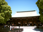 The massive main gate of Meiji Shrine