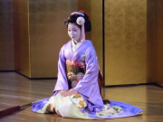 A Kyoto maiko getting ready to perform