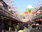 Bustling Nakamise street in Asakusa