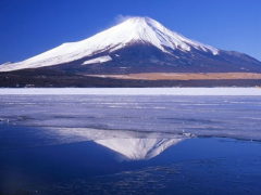 Mount Fuji reflecting from a lake
