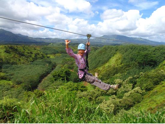 Zip over the green canopies of Kauaiu0027s rainforests & Lihue Treetop Canopy Zip u0026 Dip Backcountry Adventure Kauai tours ...