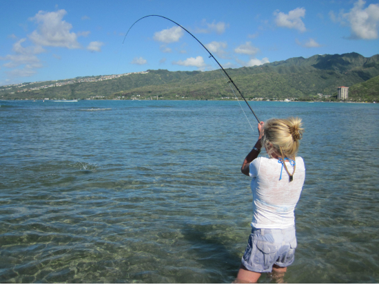 Light tackle fishing lesson tour with expert guide at for Fly fishing kauai
