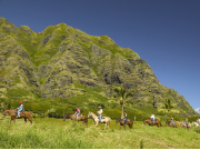 horseback tour with kaaawa range in back