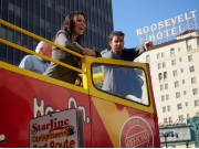 Starline CitySightseeing passengers by Roosevelt Hotel in Hollywood