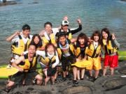Everyone having fun on the river in Okinawa