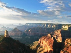 early morning view of the Grand Canyon National Park from the Point Imperial overlook on the North Rim, Arizona