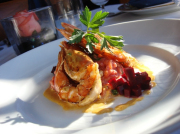 Pan Seared Fresh Kauai Prawns with Beet Risotto