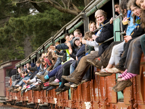 Passengers on Puffing Billy Train