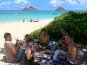 海でピクニック