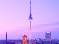 Berlin TV Tower at dusk portrait