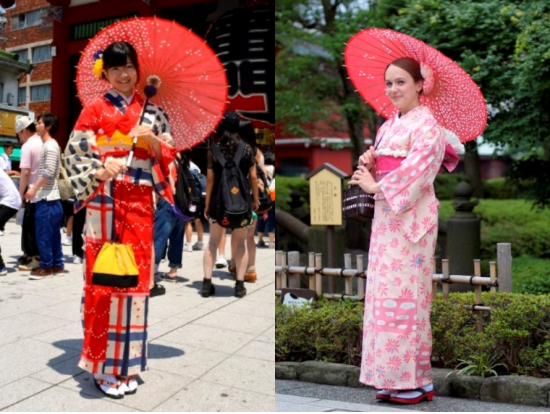 wear kimono in asakusa with a rental dress up experience