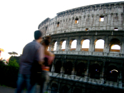 Colosseum view with couple