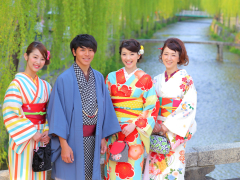 Group of friends posing in kimono