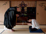 Bowing during Zazen meditation in a Kyoto temple