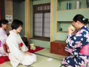 Drinking matcha tea during a tea ceremony