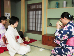 Drinking matcha tea during a tea ceremony