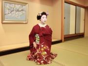 Kyoto maiko in an elegant red kimono