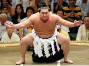 Yokozuna wrestler entering the sumo ring