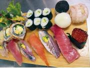 Selection of handmade sushi rolls