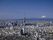 Tokyo Sky Tree and Mt. Fuji, landmarks of Japan
