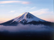Majestic Mt.Fuji rising through the clouds