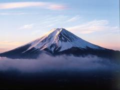 Majestic Mt.Fuji rising through the clouds