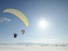 Soaring over Hokkaido on a powered paraglider