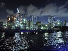 Yokohama industrial area at night