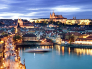 prague, night, cityscape, lights, Vltava River