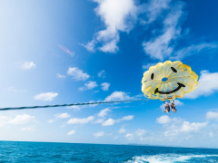 Parasail over the bright sea of Okinawa
