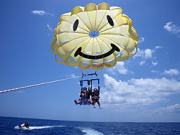 Lifting off to parasail