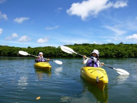 Canoeing in the tropics of Okinawa