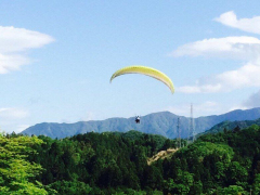 Lifting off over Japan on a paraglider