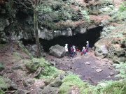 Exploring a cave in the Aokigahara Forest
