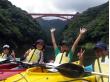Kayaking near a huge bridge in Yakushima