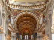 Nave of St Paul's Cathedral with visitors