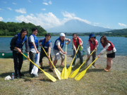 Group photo before canoeing near Mount Fuji