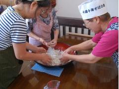 Mixing soba noodle dough in Hokkaido