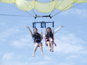 Lifting off while parasailing