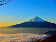 Mt. Fuji rising from the clouds near Tokyo