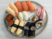 A mixed platter of hand made sushi