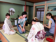 A bow at the end of a tea ceremony