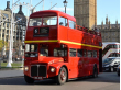 Vintage Red Bus with London Eye
