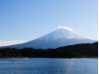 Lake Kawaguchi and Mt. Fuji on a clear blue day