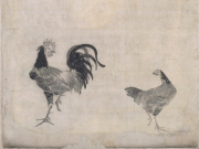 JT「双鶏図」伊藤若冲筆(鹿苑寺 蔵)