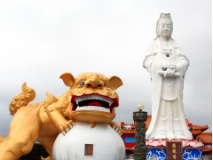 中正公園(狛犬と観音像)