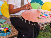 Parasol painted with traditional patterns