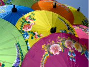 Handmade umbrellas from Sankampaeng and Bo Sang